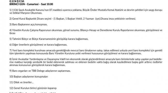 İzmir Barosu'ndan 'Olağan Genel Kurul' duyurusu