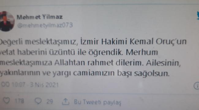 HSK Başkanvekili Mehmet Yılmaz acı haberi twitter hesabından duyurdu